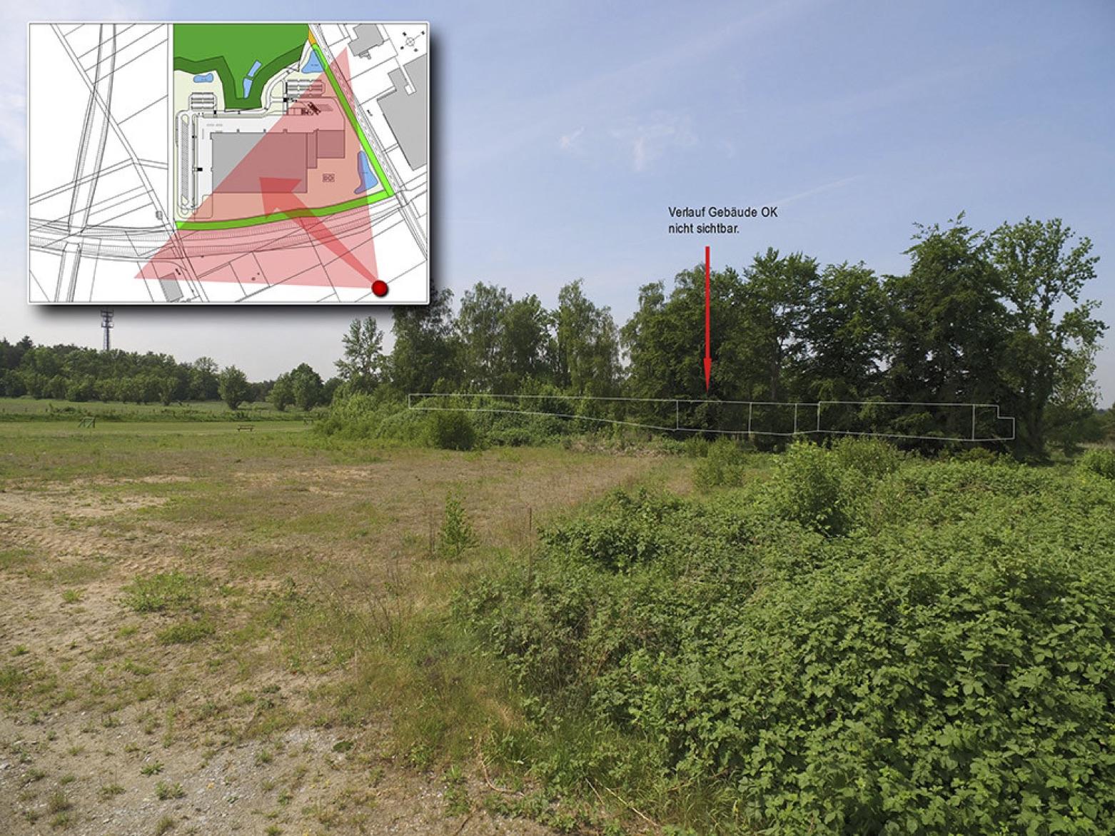 Ansicht aus dem Wohngebiet Oldendoerpsfeld-West in Richtung des Logistikzentrums
